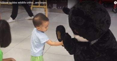 Baby with the Education for Nature - Vietnam bear mascot